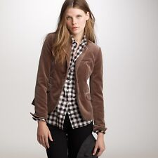 J CREW Brown Velvet Schoolboy Blazer Jacket Cotton Lined NEW Women Petite 12