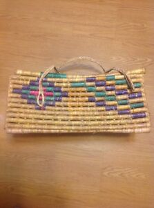 "Vintage Indian Handmade Straw Woven Rectangular Basket 20""x12""x8.5"" With Handles"