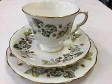 VINTAGE MADE IN ENGLAND TRIO TEA CUP TEACUP HIGH SAUCER STRAWBERRY ROYAL VALE