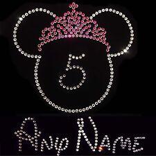Custom un nombre & cualquier número de Cumpleaños Minnie Mouse Cristal Hierro en Conjunto de transferencia