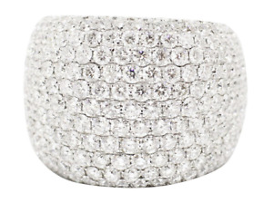 Beautiful Bombé Cluster Micro Pave Set 18.46CT Cubic Zirconia Wedding Wide Band