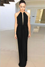 STUNNING BLACK SILK GOLD RING JEWEL HALTERNECK BACKLESS EVENING MAXI DRESS 10/12