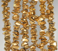 6X3-10X5MM GOLD HEMATITE GEMSTONE PEBBLE CHIPS 6X3-10X5MM LOOSE BEADS 7-8""