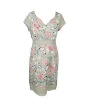 White Stuff Grey Floral Butterfly Broderie Anglaise Fit & Flare Dress Size 12