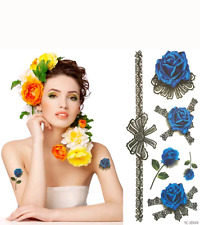 US WATERPROOF SEXY MAKE UP BODY ART TATTOO STICKERS BLUE ROSE LOVES WATER TRANSF