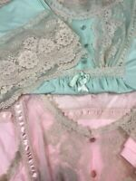 True Vintage Sz L 1960's GILEAD Pink Green w/ Grey Lace Pajamas Set Lot of 2