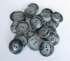 30 Buttons Silver Grey shiny pearlescent like shell 25mm (40L) 2-Hole  from UK