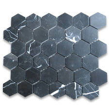 N32XP Nero Marquina 2 inch Hexagon Mosaic Tile Polished