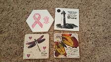 New listing Stampin Up Tile Stone coasters Swallowtail, High Tide, Ribbon Courage, Dragonfly