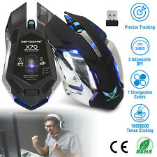Wireless Gaming Mouse Cordless USB Optical Mice For PC Laptop Computer 2400DPI