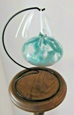 Glass - CLEAR AND LIGHT BLUE Bauble   on black metal stand
