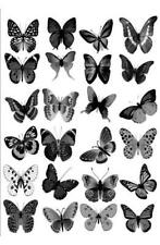 24 x LARGE GREY BLACK MIX BUTTERFLY EDIBLE CUPCAKE TOPPER RICE WAFER PAPER L25