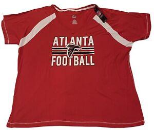 NWT Majestic Team Apparel Womens Atlanta Falcons Red T-Shirt NFL1X V-Neck