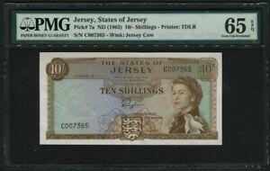 Jersey 1963, 10 Shillings, P7a, PMG 65 EPQ GEM UNC