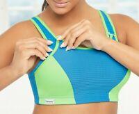 Glamorise SPORT Bra 38DD ADJUSTABLE-CONTROL High-Impact WICKS-DRY Blue/Green NEW
