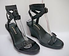 ANN DEMEULEMEESTER black leather ankle wrap wedge sandals size 36.5