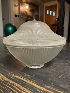 2 Piece Holophane Acorn Glass Light Shade - Missing clips!