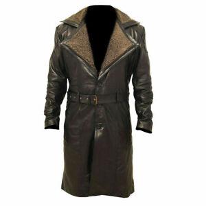 WW2 German Black Belted Fur Leather Trench Long Coat Blade Runner Jacket Mens