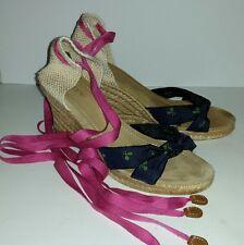 Jcrew pink navy blue embroidered tennis espadrille wedge ankle tie heels. 8