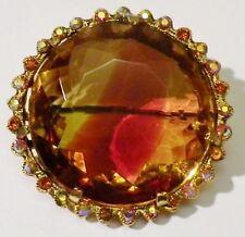 broche antiguo color oro redonda cristales gruesa piedra tallada / 30