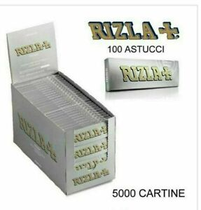 KIT 5000 CARTINE CORTE RIZLA ARGENTO SILVER MISURA CORTA 100 LIBRETTI DA 50