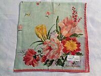 """VTG NWT 18"""" Ladies Handkerchief W Hand Painted Floral By YUKIKO HANAI EUC"""