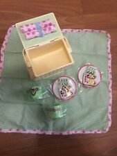 American Girl Bitty Baby Yellow Picnic Basket with Accessories