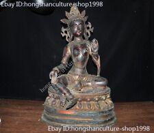 Old Tibetan Buddhism temple bronze Green Tara Guanyin Kwan-Yin goddess statue