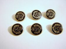 6 GOLD & BLACK MILITARY STYLE BLAZER / DRESS / COAT BUTTONS 19mm