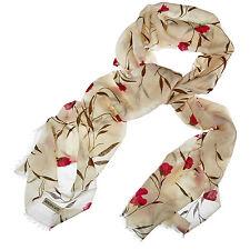 MORGAN & OATES cachemire rouge imprimé floral femmes foulard NEUF avec léger défaut