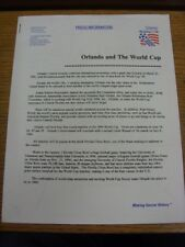 19/06/1994 World Cup: USA 94 - Orlando And The World Cup, Official Press Informa