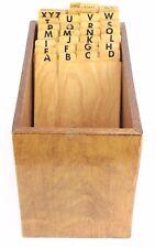 Oak Wooden Card Catalog File Box Alphabet Library Accounts Index VTG RARE OOAK