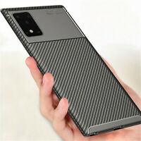 For Samsung Galaxy S21 Ultra 5G S20 Plus Carbon Fiber Soft Rubber TPU Case Cover