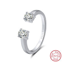 925 Sterling Silver Women's Crystal CZ Adjustable Open Cuff Finger Ring Jewelry