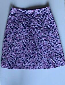 STYLE&CO. Woman Pleated A Line Skirt Floral Purple Multi-color 2P 100% Cotton