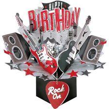 Birthday Card 3D Pop Up Card Guitars Music Rock