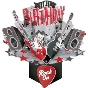 Birthday Card 3D Pop Up Card Guitars Music Rock
