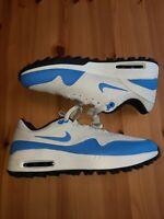 Nike Air Max 1 Golf Shoes Mens 8.5 CI7576-101 White University Blue Fast Ship!!
