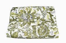 Indian Handmade Cotton Queen Cotton Kantha Quilt Bedspread Throw Blanket Throw