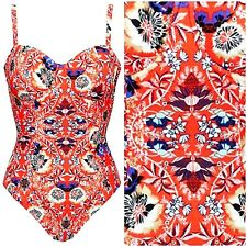 FIGLEAVES 36F TUMMY CONTROL CONTROL RED SALMA SWIMSUIT / COSTUME £60 @ NEXT