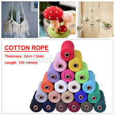 100m 2/3mm Natural Cotton Rope Cord String Twisted Beige Craft Macrame Weaving