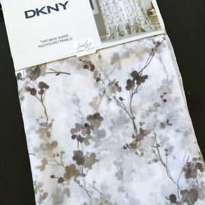 """DKNY Wallflower SHEER Window Curtains Panels Floral Branches TAUPE GRAY 50x96"""""""