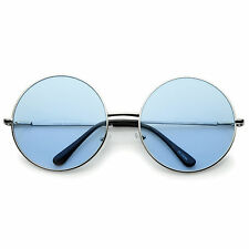 sunglassLA Super Oversize Slim Temple Colorful Lens Round Sunglasses