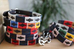 Gaucho Polo Argentina Dog Collar Leather Embroidery Genuine Handmade UK