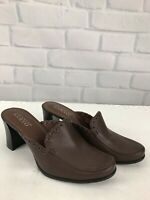 "FRANCO SARTO Womens Size 8.5 M Brown Leather  Mules 3"" Heels Slip On Shoes"