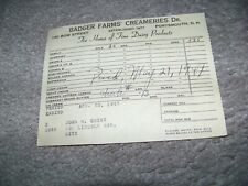 1947 Badger Farms Creameries Portsmouth New Hampshire John N. Quirk