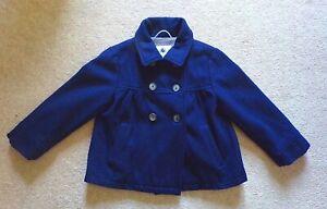 Girls wool COAT/ JACKET age 5-6 PETIT BATEAU navy blue