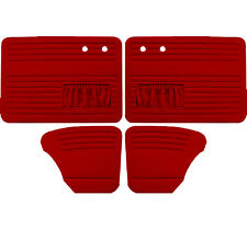 VW Door Panels, Full Set, w/Pockets, Red Smooth Vinyl, Fits Beetle 1967-1977
