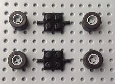 Lego Black 2x2 Axle (6157) x2 with Wheels / Tyre (30027) a set BRAND NEW City