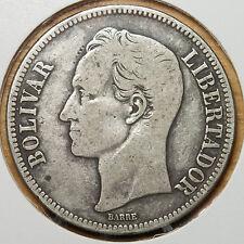 E412 Venezuela 1936, 5 bolivares plata - large 25 gram. .900 silver Coin